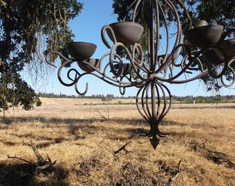 Old World Antique Chandelier // Spanish Revival Gothic // Renaissance Home Decor // Wrought Iron Hanging // Lighting Candles Candle Holder