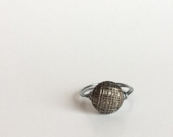 Silver Button Ring - Vintage Antique Silver Criss Cross Stripe Crosshatch Textured Button - Wire-Wrapped Gunmetal Wire, Handmade Custom Size