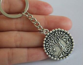 Silver tree of life keychain - metal charm keychain - metal keychain - tree keychain - new age gift - silver keychain