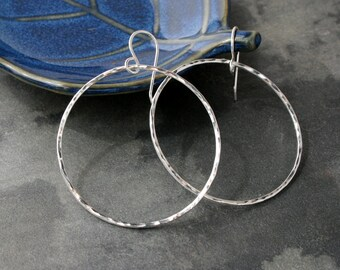 Medium Eternity Earrings, Sterling Silver Hoops, Round Hoops, Hammered texture, Dangle Hoops, Round Minimalist, French Ear Wire