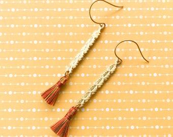 Gold Brass Leaf Rectangle Tassel Dangle Earrings Autumn Fall Colors Bronze Multi-Colored Tassel Skinny Boho Gypsy Earrings Gift Under 20