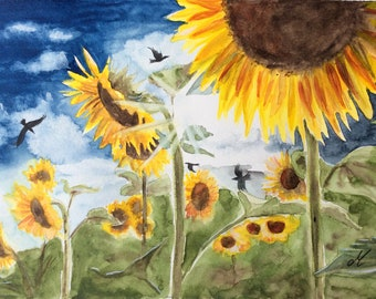 Sunflowers Flowers watercolor Nature art Landscape art Original watercolor Original artwork painting Home decor Wall art Gift idea