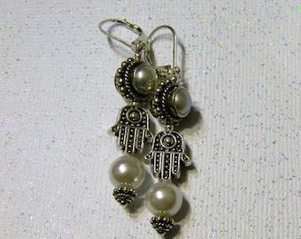 Pearl and Bali Silver Hamsa Drop Earrings