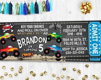 Monster trucks birthday invitation Birthday card Monster trucks chalkboard invite