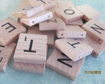 DOUBLE HOLE pre-DRILLED authentic Scrabble Tiles - lot of 30
