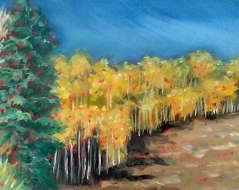 "Aspen Landscape Oil Painting Fall Aspen Colors 8"" X 10"" Small Landscape"