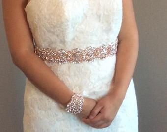 Pearls and crystals bridal  sash, bridal belt, dress belt rosegold sash, crystal beaded sash. rose gold sash