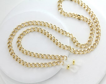 Gold Curb Chain Eyeglass Necklace, Gold Eyeglass Chain, Gold Eyeglass Holder, Gold Lanyard, Gold Eyeglass Lanyard, Gold Chain Eyeglass Chain