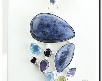 Made in Canada! Sodalite Amethyst Blue Topaz 925 SOLID Sterling Silver Pendant + 4mm Snake Chain & Worldwide Shipping