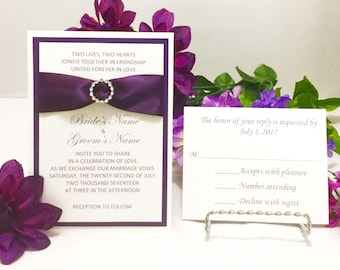 Elegant Purple & White Invitation Set For Wedding/Birthdays/Holidays/50th Anniversaries - Response Cards and Envelopes Included