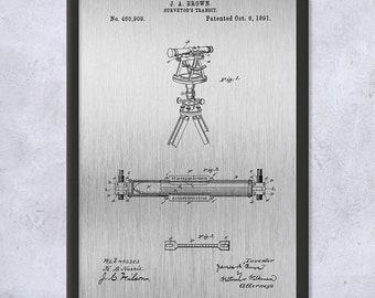 Framed Surveyors Transit Art Print Gift, Transit Patent, Surveyor Gift, Theodolite, Engineer Gift, Civil Engineering, Civil Engineer Gift