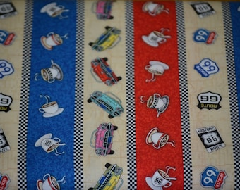 Route 66 Fabric Quilters Cotton Lloyd & Barton By the Yard
