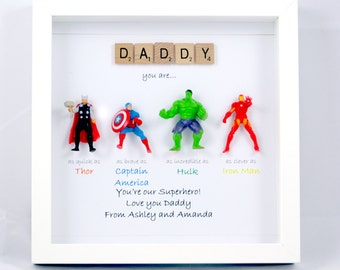 Avengers Superhero figures frame gift. Ideal for dad, brother, friend, son, nephew, husband. Father's day/ birthday or christmas gift.