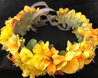 Yellow  Orchid and Lily Flower Crown