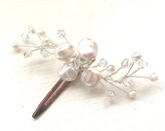 Bridal hair accessories, wedding hair clip, pearl hair clip, freshwater pearls, hairpiece, bridesmaid hairpieces