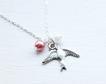 Pink Swallow Bird Charm Necklace - Beaded Feather Festival Boho Charm Necklace Pendant