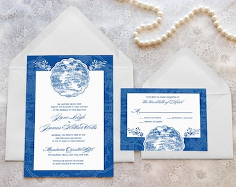 China Blue Asian Printable Wedding Invitations - Chinese Wedding - Chinoiserie Wedding - Blue Wedding