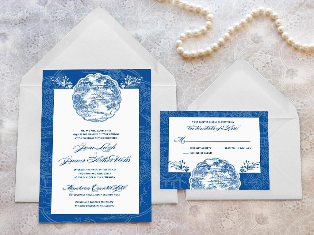 Chinese Themed Wedding Invitations: China Blue Asian Printable Wedding Invitations Chinese