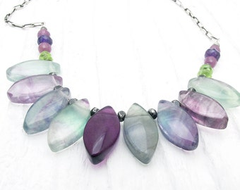 rainbow fluorite necklace, fluorite jewelry, gemstone necklace, crystal necklace, sterling silver necklace, peridot, ruby, amethyst