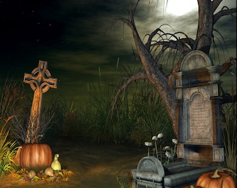 Ceramic Accent Tile- Scary Grave Yard with Pumpkins S/LG