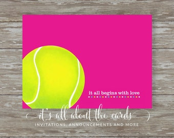 Set of 6 - 5 x 7 FLAT Tennis note cards with envelopes-It all begins with love