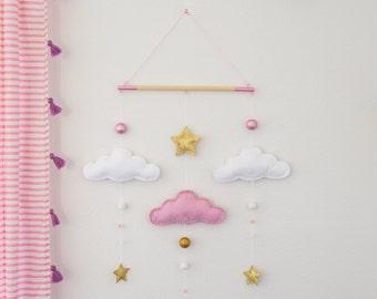 Cloud Nursery Mobile / Felt Mobile / Nursery Decor / Baby Girl Nursery / Pink and Gold Wall Decor
