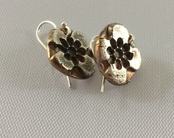 Earrings  .999 silver gold, black patina finish