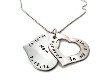 """Personalized Memorial Hidden Dates Necklace, Hand Stamped """"forever in my heart"""" personalized necklace with name and date, sympathy gift"""