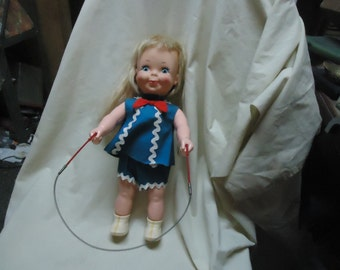 Vintage Remco 1970 Jumpsy Battery Operated Jump Rope Doll, NON WORKING.collectable