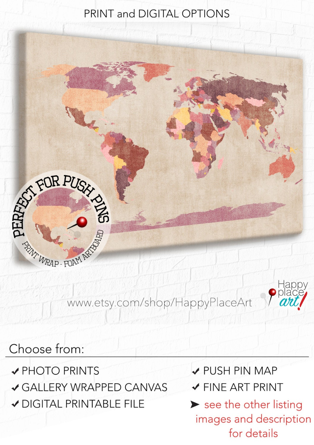 Vintage colors world map neutral brown wall art earthy zoom gumiabroncs Choice Image