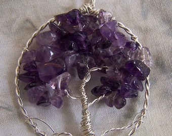 Amethyst Tree of Life necklace pendant + chain - Sterling Silver - February Birthstone genuine natural gemstone crystal - purple wire wrap