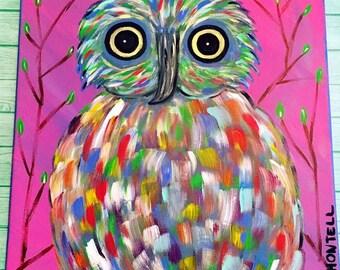 Owl- Owl Décor- Owl Painting- Abstract Painting- Abstract Canvas Art- Abstract Animal Art- Rainbow- Colorful Wall Art- Wall Art - Custom Owl