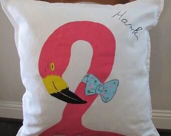 """Fanciful Flamingo Pillow   """"Hank"""""""
