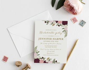 Bachelorette Party Invitation Template DIY Bachelorette Invite Cheap Invitation Floral Invitation INSTANT Download PDF Template #CL157