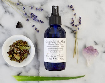 Balance Clarifying Facial Toner: Lavender and Aloe Vera w/ Wild Blueberry and Rooibos Antioxidants, Organic Hydrosol, Natural Vegan Skincare