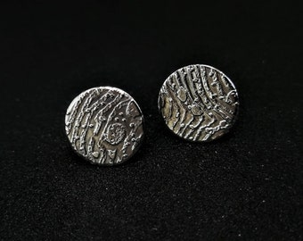 Etched silver stud earrings
