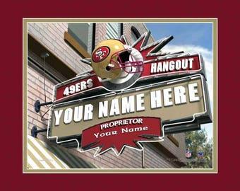 49ers etsy san francisco 49ers hangout sign pub sign personalized gift nfl pub print voltagebd Choice Image