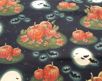 Halloween Fabric Pumpkins at Midnight Fabric Dennis Kendrick & Andrea Brooks Bats Full Moon Fabric Jack O Lanterns Quilt Fabric 2 Yards