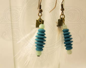 Earrings white ostrich feather and turquoise wooden bead.