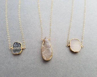 14k Gold Filled Necklace with Druzy Pendant - White, Tan, Brown, Gray, Black, Pink Druzy - Natural Druzy