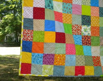 Patchwork Quilt--picnic Size--81X81--Classic Americana cotton blanket