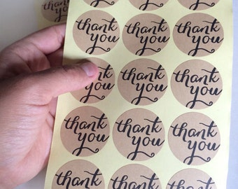 kraft thank you sticker - set of 15 - calligraphy thank you label - wedding thank you favor sticker - wedding favors - kraft envelope seals