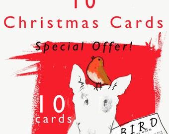 English Bull Terrier Christmas 10 Cards Lucky Dip