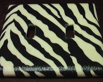 Zebra Double Toggle Lite Switch Plate Cover