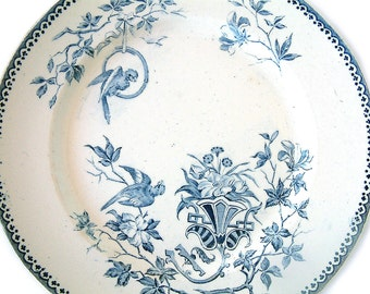 French vintage CREIL MONTEREAU  blue transferware footed fruit / dessert serving plate motif 'Perruche' / Parrot  French country