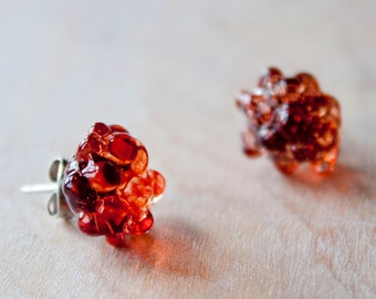 Glass Cluster Dot Earrings - Pomegranate