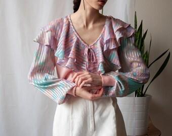 striped georgette ruffle collar sweater / pink pastel ruffle sweater / s / m / 991t / B16