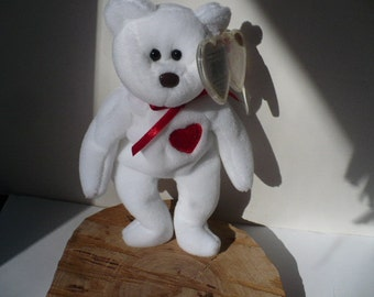 Gift For Girlfriend Stuffed Animal, Valentino Bear Beanie Babies, Gift for Girlfriend, White Bear With Red Heart