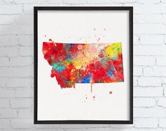 Montana Watercolor Map, Montana State Art Print, Montana Poster, Montana Decor, State Wall Decor, Travel Art, Watercolor Print, Dorm Decor