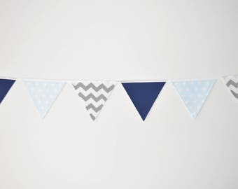 Blue Fabric Baby Bunting, Navy, Baby Blue, Grey Chevron Baby Boy Nursery Flag Bunting Wall Decor, Baby Shower, Birthday Party Bunting